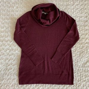 LOFT cowl neck burgundy sweater